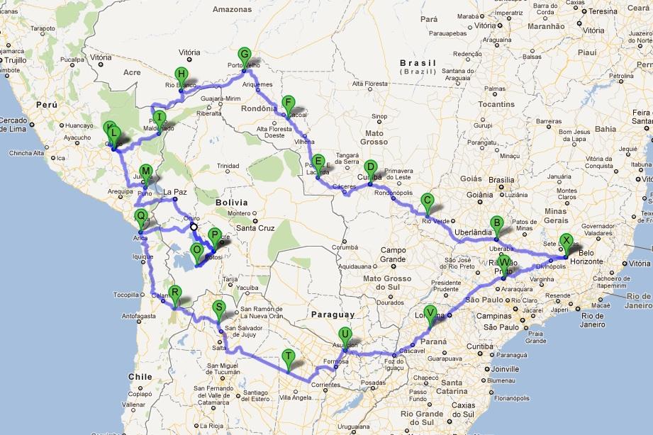 Roteiro Da Viagem Pelas Estradas Da America Do Sul